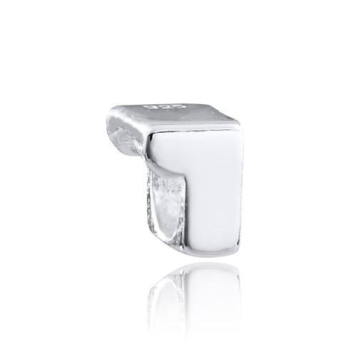 MATERIA 925 Silber Beads Zahl 1 - Zahlen Anhänger für Beads Armbänder / Ketten #1493