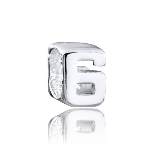 MATERIA 925 Silber Beads Anhänger Zahl 6 - Silberanhänger für Armbänder / Ketten #1498