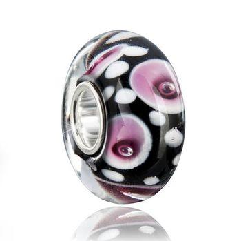 Materia Muranoglas Beads Perle schwarz rosa Blumen
