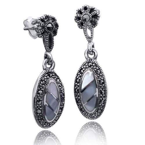 MATERIA 925er Silber Ohrstecker Perlmutt Markasit - Damen Ohrringe lang Vintage-Stil #SO-100