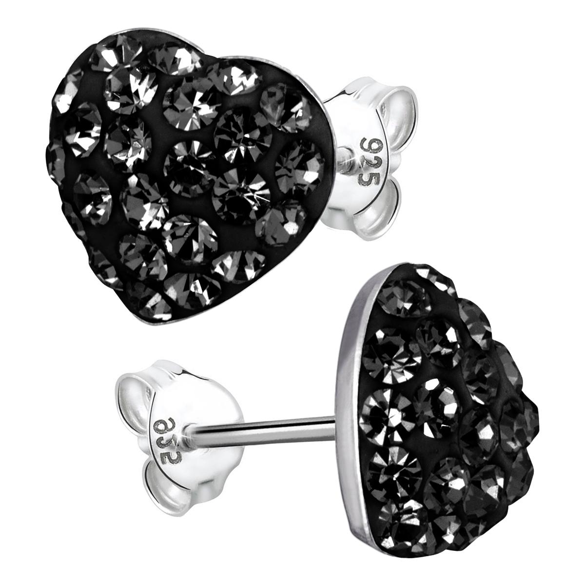 MATERIA Ohrstecker Herz schwarz Kristall - 925 Silber Ohrringe 9mm