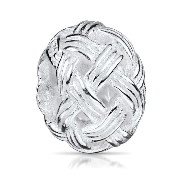 MATERIA Beads Kugel 925 Silber Knäuel - Charms Anhänger Wollknäuel hochglanzpoliert für Armband 1334