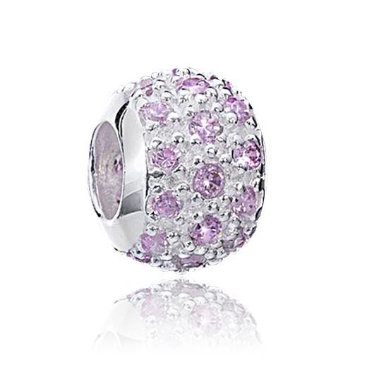 MATERIA 925 Silber Beads Kugel Zirkonia rosa Element für European Beads Armband #1338