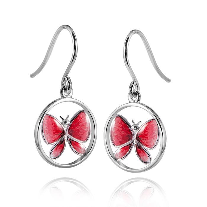 MATERIA 925 Silber Ohrhänger Schmetterling bicolor - Emaille Ohrringe rot rund mit Schmuckbox #SO-13