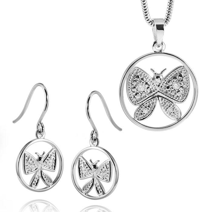MATERIA Schmuckset Silber Anhänger Zirkonia + Ohrhänger Schmetterling rhodiniert + Box #31-194