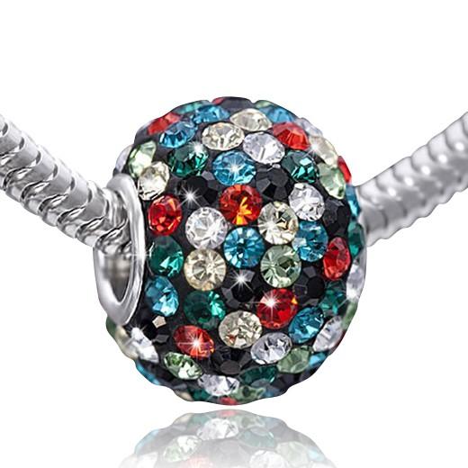 MATERIA XXL Kristall Beads Anhänger Silber 925 bunt - 12x16mm Strass Kettenanhänger Kugel #1213