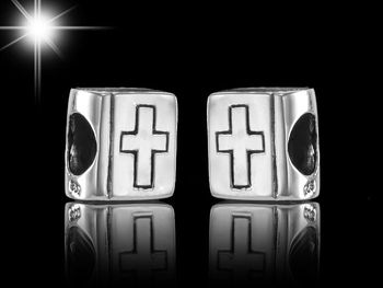 MATERIA Silber Beads Bibel - Kreuz Beads Religion Element aus 925 Sterling Silber antik für Beads Armband #931