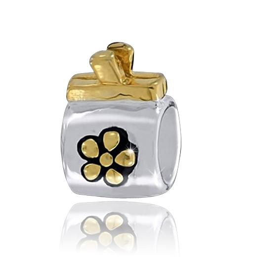 MATERIA 925 Silber Beads Handtasche vergoldet - Bicolor Anhänger für Beads Armband / Kette #1291