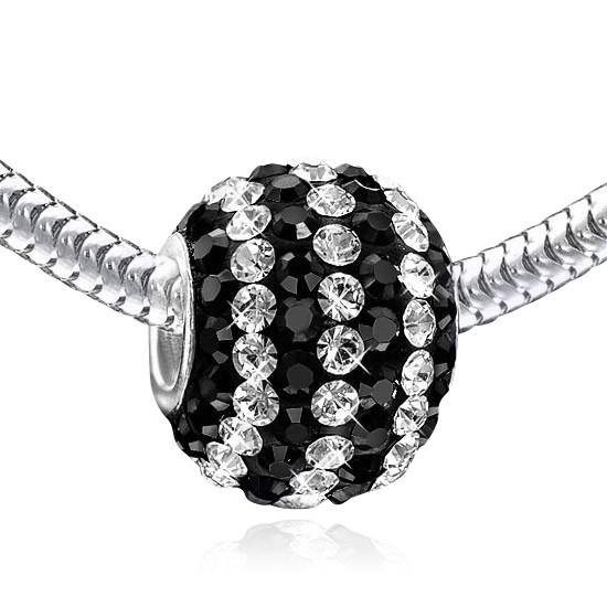 MATERIA Strass Bead Kugel Silber 925 - Kristall Anhänger schwarz weiß für Beads Armband #826