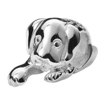 MATERIA Beads Anhänger Hund Welpe 925 Sterling Silber rhodiniert + Box / deutsche Fertigung #565