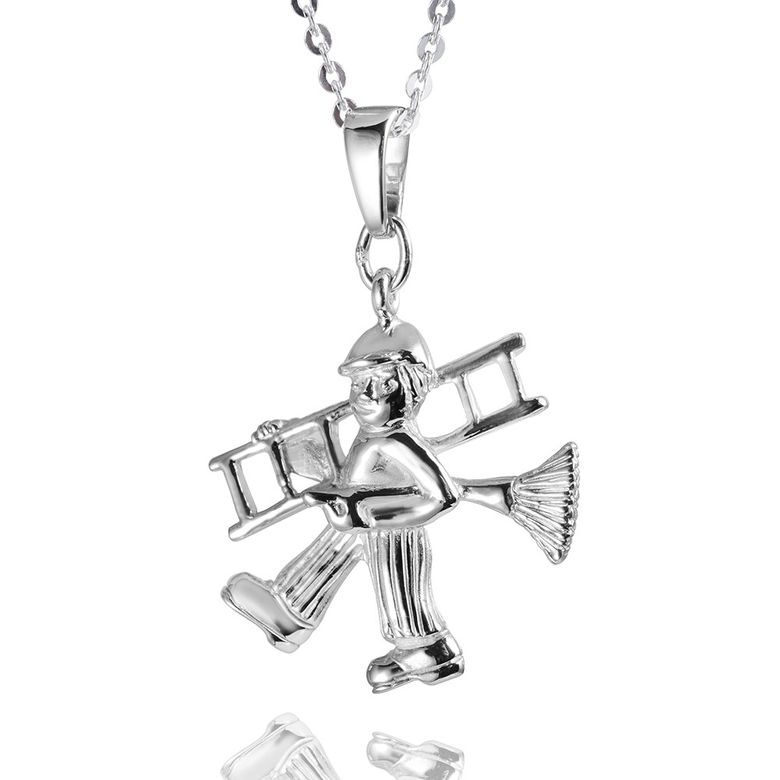 MATERIA Kinder Kettenanhänger Schornsteinfeger Figur Glücksbringer Silber 925 rhodiniert für Kette #KA-205