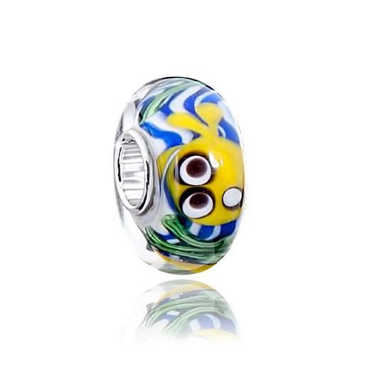 MATERIA Muranoglas Beads Fische Anhänger silber 925 für European Beads Armband & Kette #1576