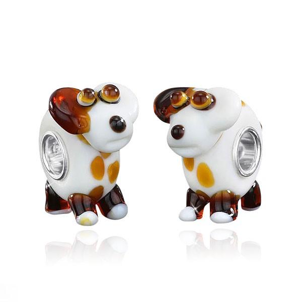 MATERIA 3D Muranoglas Beads Hund weiß braun - Kinder Anhänger Silber 925 für Beads Armband / Kette #1019
