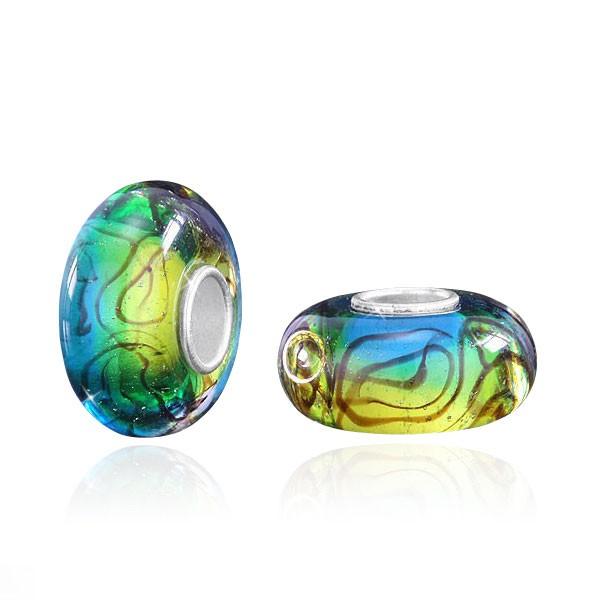 MATERIA 925 Silber Muranoglas Bead türkis grün Linien - Glas Anhänger für Beads Kette / Armband  #1021