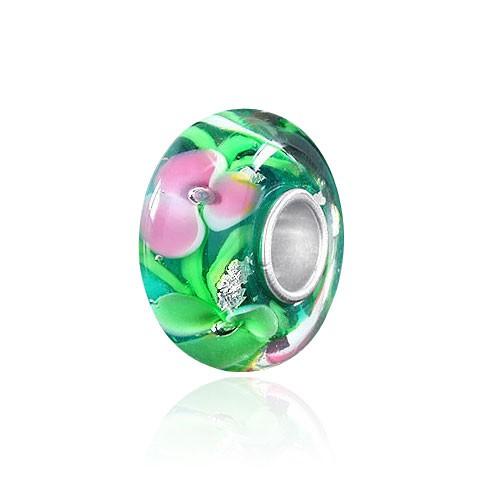 "MATERIA Muranoglas Bead Silber 925 ""Nelke"" - Silberfolie Anhänger für Beads Armband / Kette #1025"
