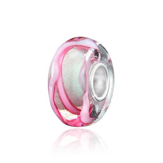 "MATERIA Muranoglas Bead rosa Silber 925 ""Schleifenband"" - Glasperle für European Beads Armband #1026"