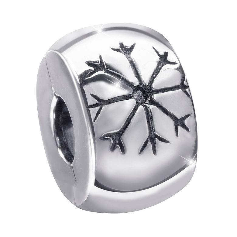 MATERIA Beads Stopper Clip 925 Silber - Damen Mädchen klein mit Eiskristall in Geschenkbox #1056