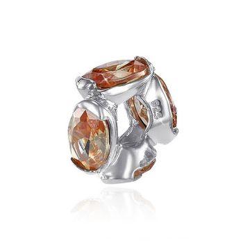 MATERIA 925 Silber Beads Zirkonia Anhänger orange braun für European Beads Armband / Ketten #1057