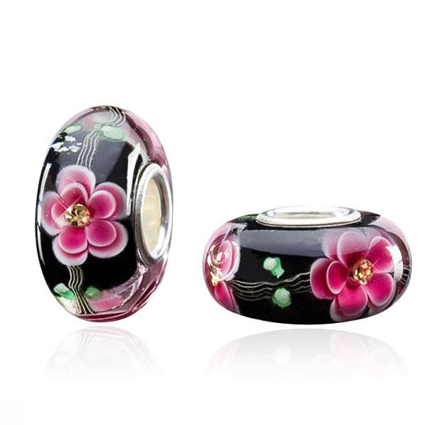 "MATERIA ""Gerbera"" Zirkonia Bead Blume magenta pink schwarz- Murano Glasperle Silber 925 für Beads Armband #1062"