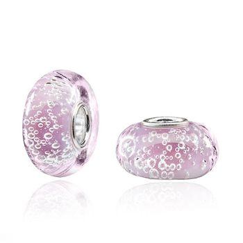 "MATERIA Muranoglas Beads rosa Anhänger ""Bowle"" Luftbläschen - Silber 925 Glasperle für Beads Armband / Kette #1078"