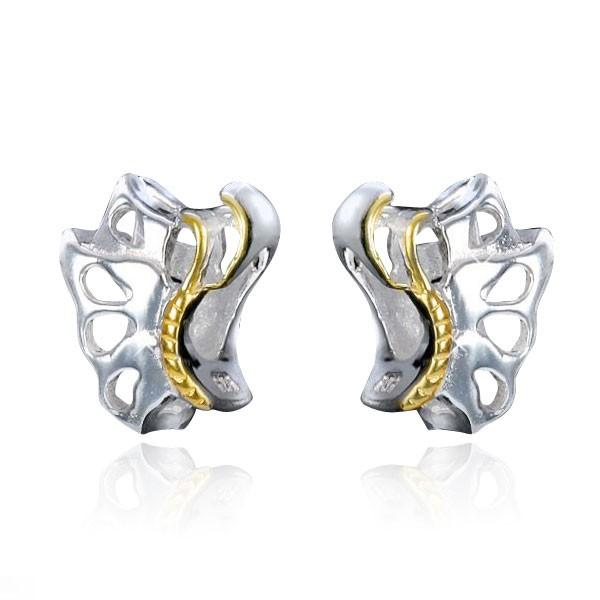 MATERIA 925 Silber Beads Schmetterling gold bicolor - Anhänger vergoldet für European Armband / Kette #1096