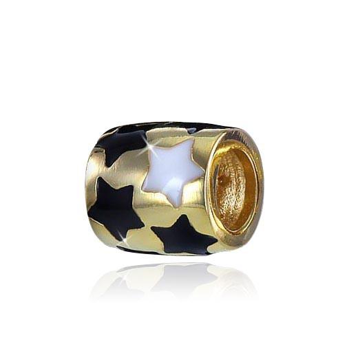 MATERIA 925 Silber Gold Beads Sterne Anhänger vergoldet emailliert für European Armband / Kette #11