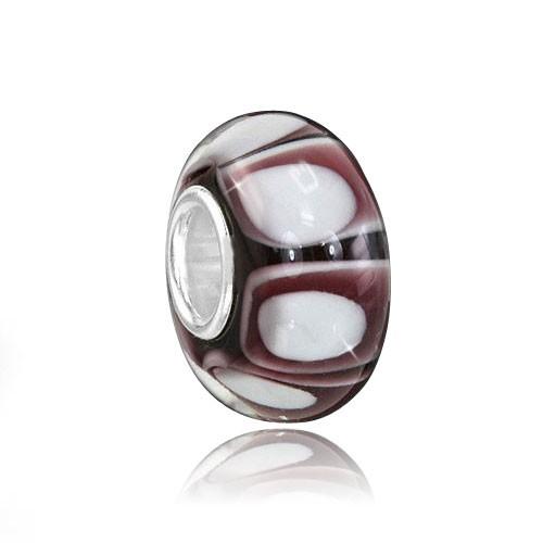 "MATERIA 925 Silber Muranoglas Beads Perle ""White Circle"" bordeaux weiß für European Armband  #903"