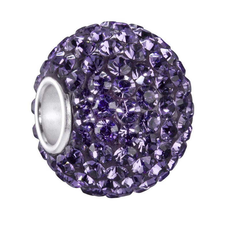 Kristall Bead lila Damen XXL Kugel 12x16mm - 925 Silber Beads Anhänger Schmuck Strass Kettenanhänger #1088