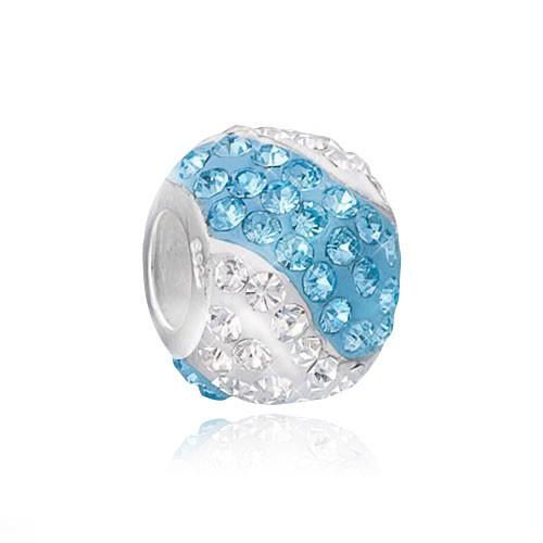 MATERIA 925 Silber Beads Kristall Kugel weiß blau - Strass Anhänger für European Armband #1121