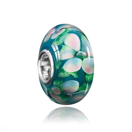 """MATERIA """"Gardenie"""" Muranoglas Beads Perle Blume weiß grün für European Beads Armband #1126"""