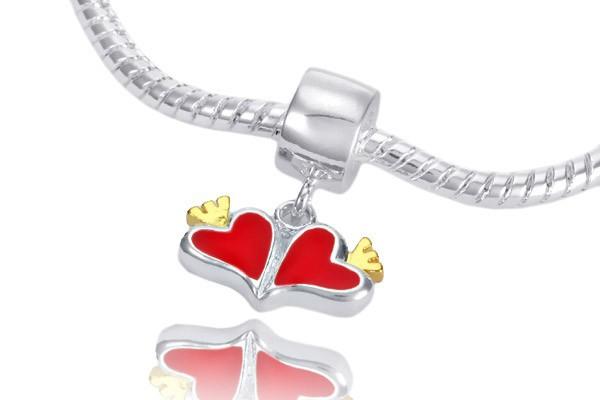 MATERIA Weißkupfer Dangle Bead Herzen mit Krone - Liebe Anhänger vergoldet versilbert für Bead Armband #113