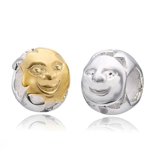 MATERIA Bicolor Beads Anhänger Sonne Mond - 925 Silber Element Gold für European Armband / Kette #1139