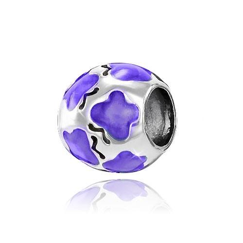 MATERIA 925 Silber Beads Schmetterling Anhänger lila emailliert für European Armband / Kette #1141