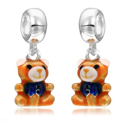 MATERIA 925 Silber Dangle Beads Anhänger Bärchen mit Weste emailliert für Beads Armband / Kette #1144