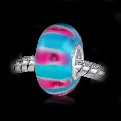 MATERIA 925 Silber Muranoglas Beads blau pink Anhänger gestreift für Beads Armband / Kette #543