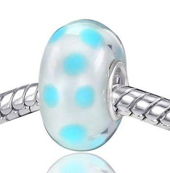 MATERIA 925 Silber Beads Muranoglas Anhänger blau metall Punkte für European Beads Armband / Kette #542