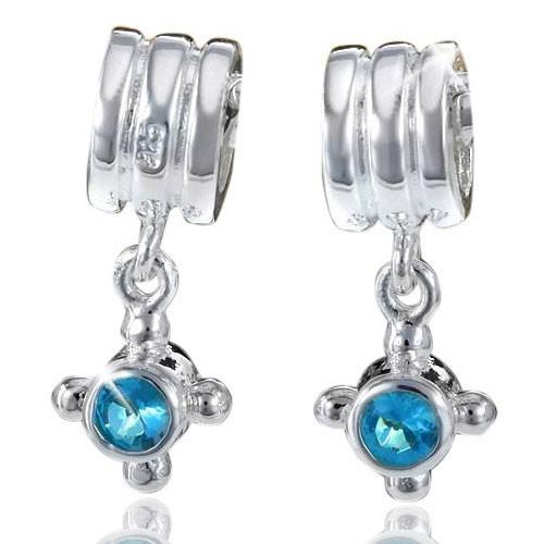 MATERIA 925 Silber Dangle Beads Anhänger Zirkonia türkis für European Armband / Ketten #517