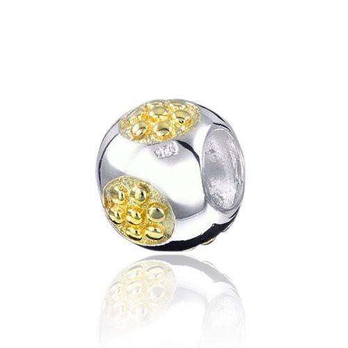 MATERIA 925 Silber Bead HONIGWABE vergoldet - Bicolor Anhänger für Beads Armband / Kette #271