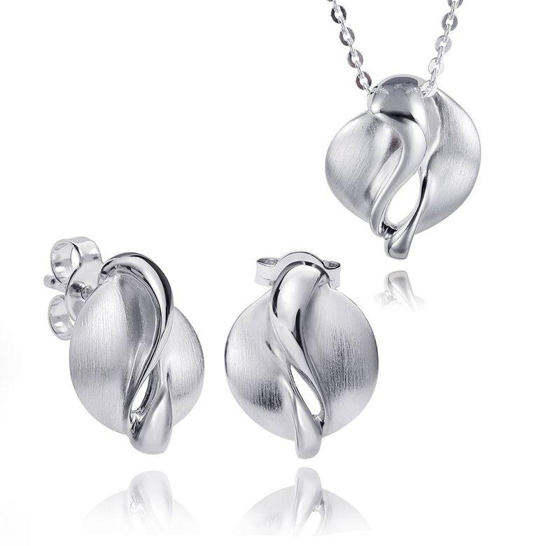 MATERIA Silber 925 Schmuckset rhodiniert - Damen Schmuckset Kette Ohrringe Anhänger + Box