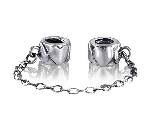 MATERIA 925 Sterling Silber Beads Sicherheitskette Herzen Liebe für Armband mit Gewinde #1223