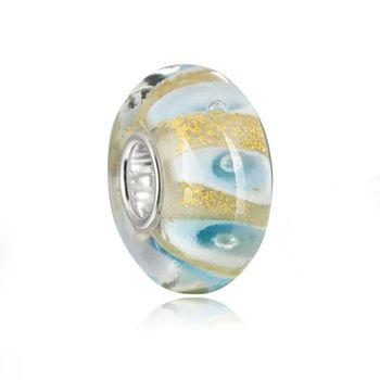 "MATERIA Muranoglas Bead gold blau ""Calla"" für European Beads Armband / Kette #1165"
