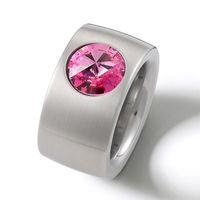 Ring / Edelstahl / Top Design / Swarowski Crystal Rosa