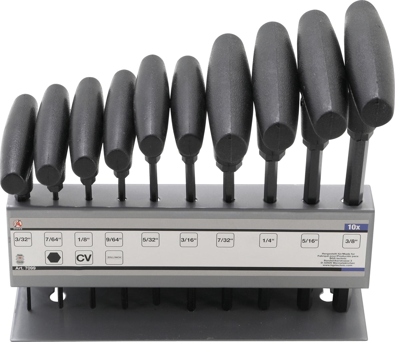 """KRAFTMANN 7099 T-Griff / Stiftschlüssel Schlüsselsatz Innensechskant in ZOLL 10 teilig von 3/32"""" bis 3/8"""""""
