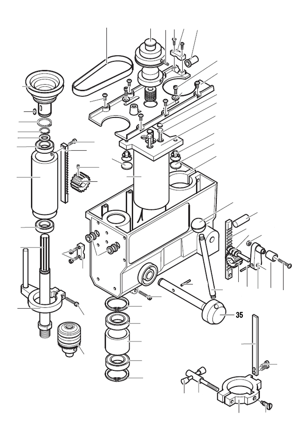 PROXXON 28124-35 Vorschubwelle für Tischbohrmaschine TBH