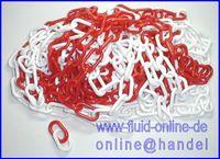 Absperrkette Kette rot weiß Länge 10m / 10 Meter - 6mm Glieder