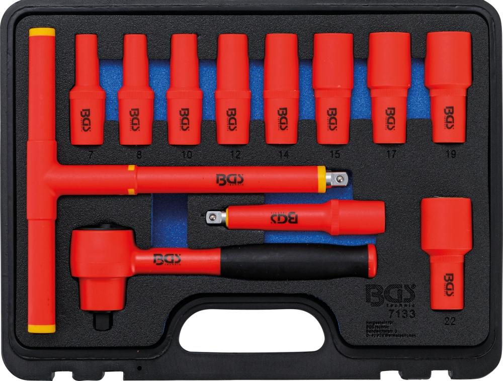 BGS 7134 VDE Satz Steckschlüssel Nüsse 10-24mm Antrieb Innenvierkant 12,5mm (1/2