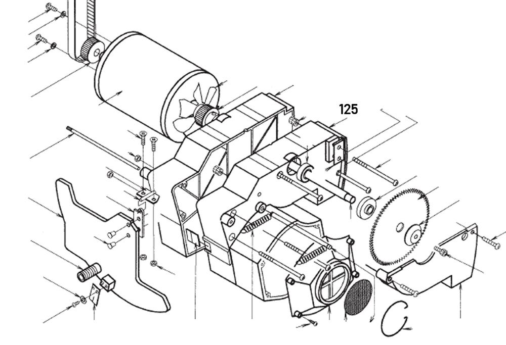 PROXXON 28070-125 Motorgehäuse groß für Feinschnitt-Tischkreissäge FKS/E