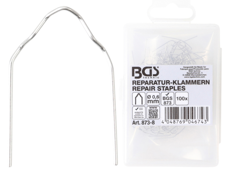 BGS 873-8 Reparatur Klammern V-Form Ø0,6mm 100 Stück für Kunststoffreparatur