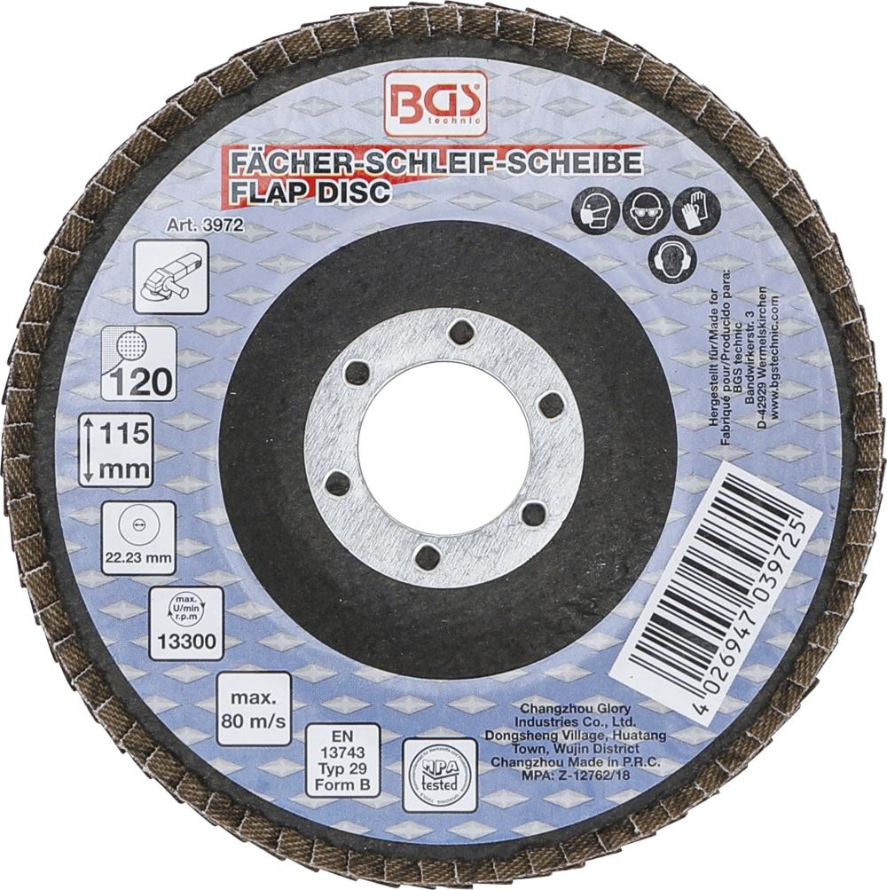 BGS 3972 Fächer Schleifscheibe Ø 115mm K 120 für Winkelschleiferbetrieb