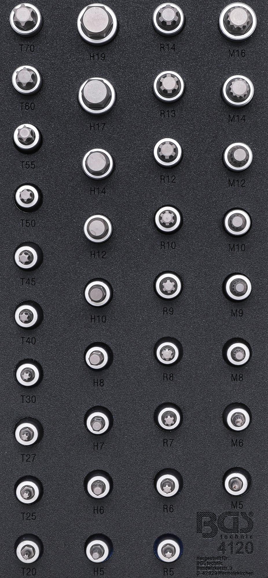 """BGS DIY 4120 Satz Biteinsätze Antrieb Innenvierkant 12,5mm (1/2"""") Innensechskant T-Profil (für Torx) Innenvielzahn (für XZN) Keil-Profil (für RIBE) Werkstattwageneinlage 1/3"""